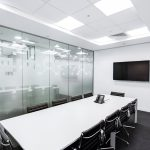 Office conference room with glass walls