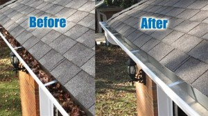Before and After of professional gutter cleaning, removing of dirt and leaves