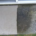 Front porch step left side power washed clean, right side still dark with dirt and grime